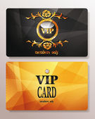 Gold VIP cards with relief background — Stock Vector