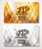 Gold and silver Vip cards with the abstract background — Stock Vector