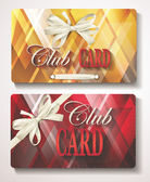 Elegant Club cards with abstract background and white ribbons — Stock Vector