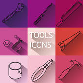 Set of tools icons with long shadows — Stock Vector