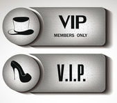 Set of silver VIP Signs with the woman's shoe and man's hat — Stock Vector