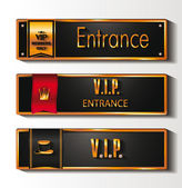 VIP ENTRANCE SIGNS WITH THE LABELS — Stock Vector