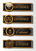 VIP GOLD ENTRANCE SIGNS — Stock Vector