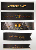 VIP black textile labels — Stock Vector