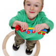 Boy playing with a train set - Foto de Stock