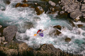 Kayaker in white water — Stock Photo