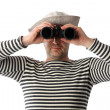 Sailor with binoculars on the white background — Stock Photo