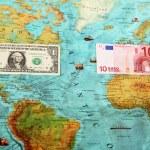 World money , World map , Money transfer — Stock Photo