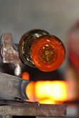Glass factory, glassworks, glass blower — Stock Photo