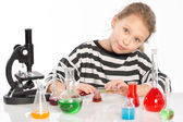 Child in chemistry class, chemistry lesson — Stock Photo