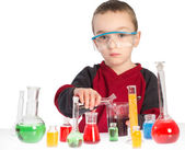 Child in chemistry class, chemistry lesson in lab — Stock Photo