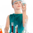 Teenager in chemistry class, chemistry lesson — Stock Photo
