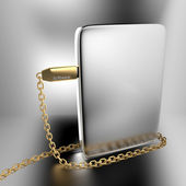 Golden USB chain around silver software box — Photo