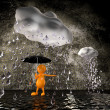 3d Man rain with big raindrops — Stock Photo