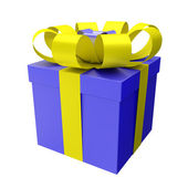 Gift Box Blue with Yellow Ribbon — Stock Photo