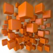 Abstract 3D Orange Blocks Background — Foto Stock