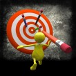 3D man  with Target and Pencil — Foto de Stock