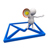 3D Man with Email Icon — Stock Photo