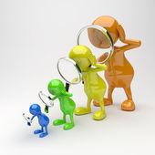 3d människor med förstoringsglas — Stockfoto