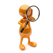 3D Man with Magnifying Glass — Stockfoto
