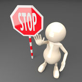 3D Man with Stop Sign — Stock Photo