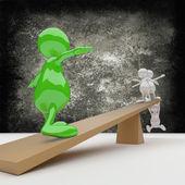 3d 人平衡 — 图库照片