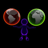 3D man Blue X-ray with Two Earth Globes — Stockfoto