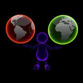 3d-man blue x-ray met twee aarde globes — Stockfoto