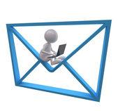 3d mann mit blauen postikone und laptop — Stockfoto