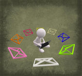3D man with colorful Mail — Stock Photo