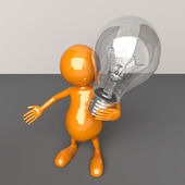 3D man with Lighting Bulb in Hand — Stock Photo