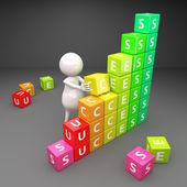 3d-succes met kubussen — Stockfoto