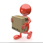 3D man with Cardboard box in Hands — Stock Photo