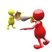 3D people with megaphone — Stock Photo