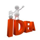 3d homme avec l'idée de mot et l'ampoule d'éclairage — Photo