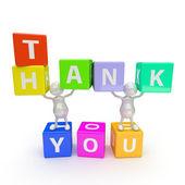 3d människor med ordet tack — Stockfoto