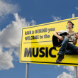 Stock Photo: Road Sign with Word Music