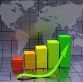Obchodní graf se zelenou šipkou — Stock fotografie