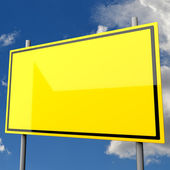 Road Sign Big Yellow Blank — Stock Photo