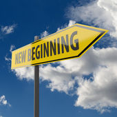 Road Sign with words New Beginning — Stock Photo