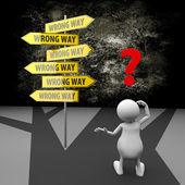 3d människor med vägmärke fel sätt — Stockfoto