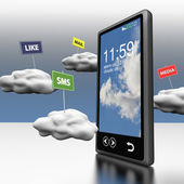 Telefono astuto il cloud computing — Foto Stock