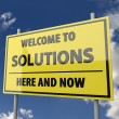 Road sign wit words Welcome to solutions — Stockfoto