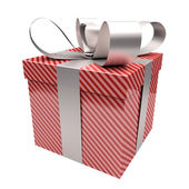 Gift box with red lines — Stock Photo