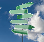 Road Signs green on Sky Background — Stock Photo