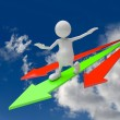 3D people walking on green and red arrows — Stock Photo #22460243