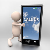 3D people with mobile phone and words call us — Stock Photo
