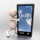 3d lidé s mobilním telefonem a slova nám zavolejte — Stock fotografie