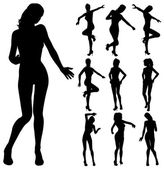 Attractive girl dancing silhouette — Stock Vector