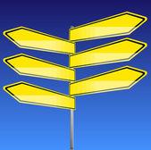 Estrada sinais amarelo em branco com fundo azul — Vetor de Stock